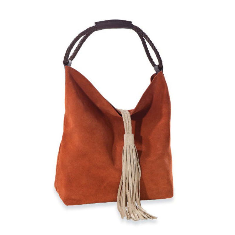 Tassel Hobo Bag Wholesale Fashion Braided Leather Handles Hasp Closure Suede Fringed Tote Bag