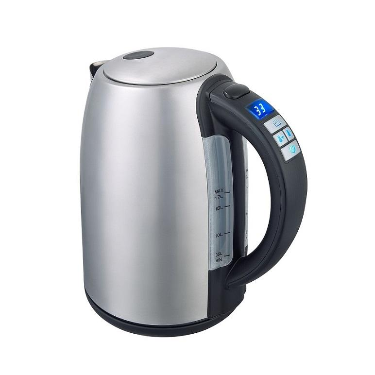 home appliances 1.7L high quality Stainless steel kettle silver cordless fast cooking LED screen water boiler electric kettle