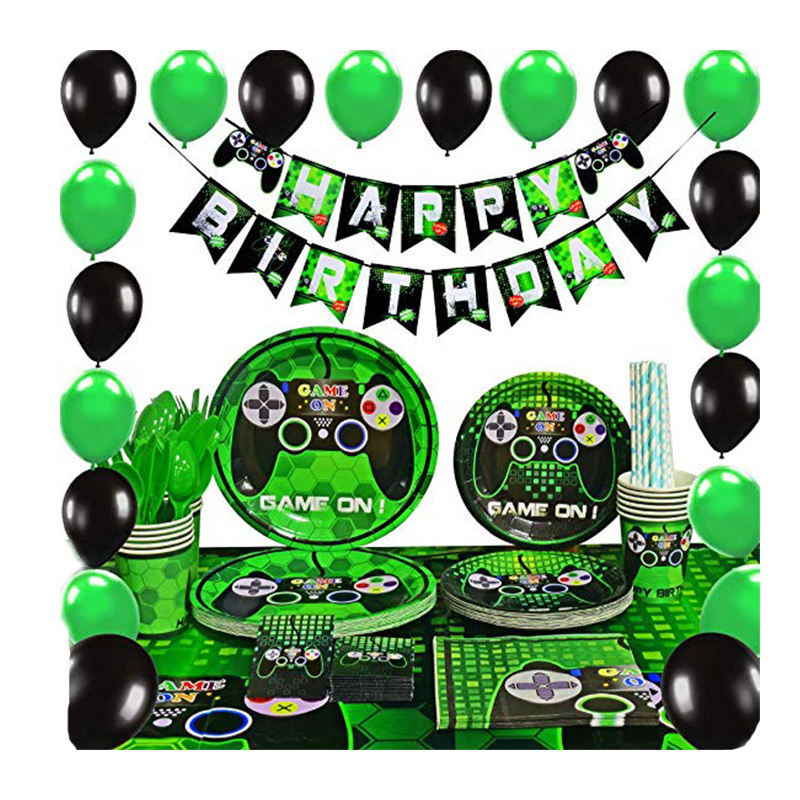 Amazon Hot Koop Video Game Party Decoratie Set Gamers Game Op Verjaardag Banner Platen Feestartikelen Thema Feestartikelen