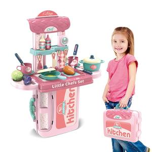 Plastic Pretend Play Cooking Child Kids Happy Kitchen Cabinet Sets Toys For Girls