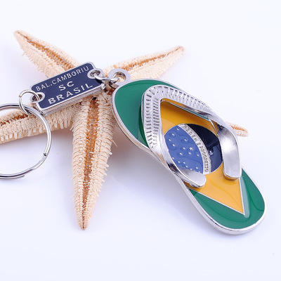 Hot selling Brazilian slippers creative exquisite key chain slippers metal keychain Keyring Shoes