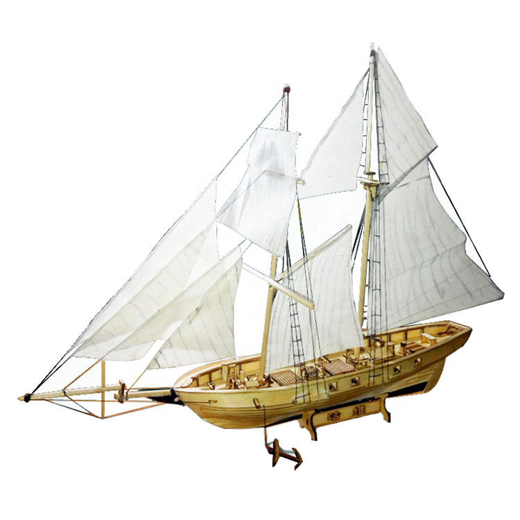 wooden Harvey Sailing Model Assembling Building Kits Ship Model Sailboat Toys Assembled Wooden model Kit DIY kids