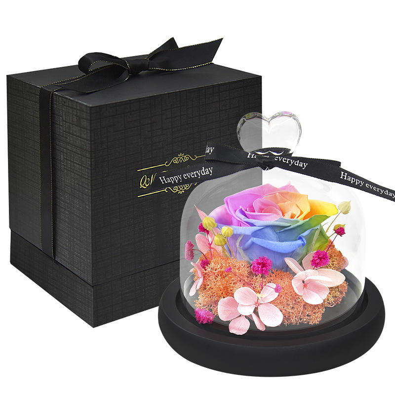 Exclusive Rose in Glass Dome with Lights Real Eternal Rose Preserved Rosevalentines day gift