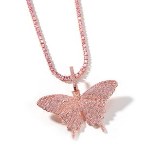 Wholesale new 2020 Hip hop bling diamond pink zircon large butterfly pendant necklace for women men jewelry