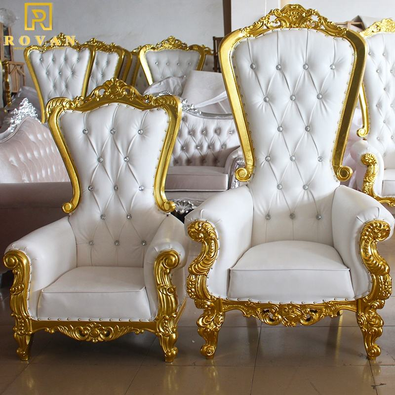 Wedding Cheap High Back King throne chair for party luxury bride and groom chair