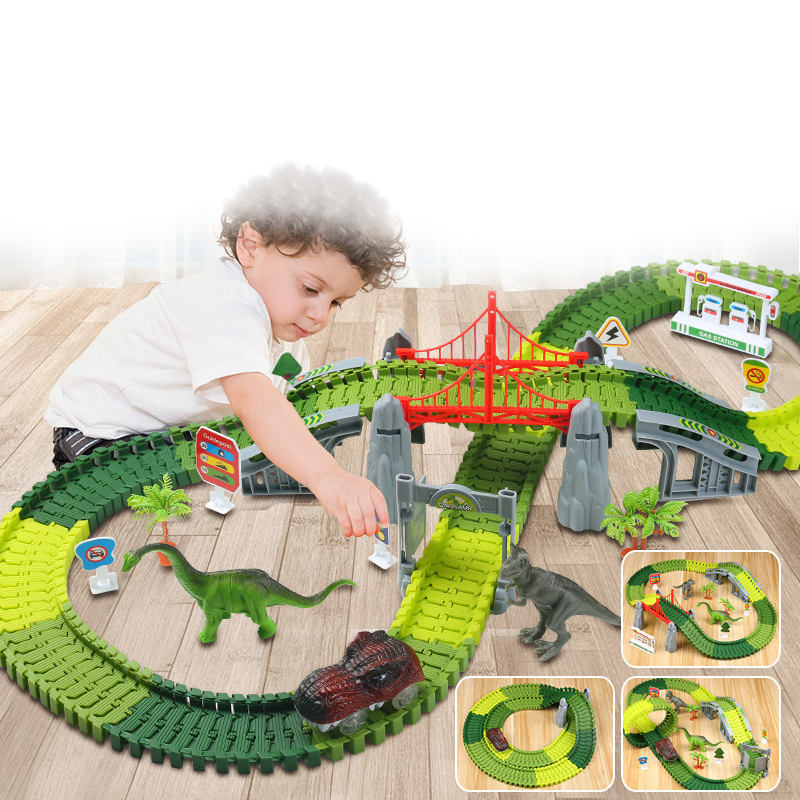 Customizable Dinosaur Model Assembly of Kids Toys, Intelligence, Brain and Track Car Slot Toy