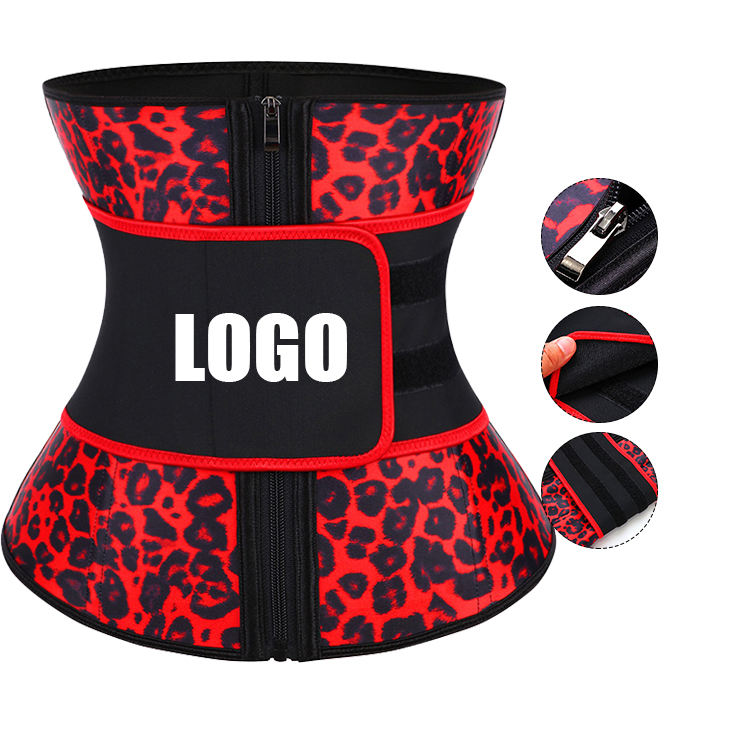 Custom Logo Private Label Leopard Printing Latex Waist Trainer Belt For Women Tummy Control Lose Weight
