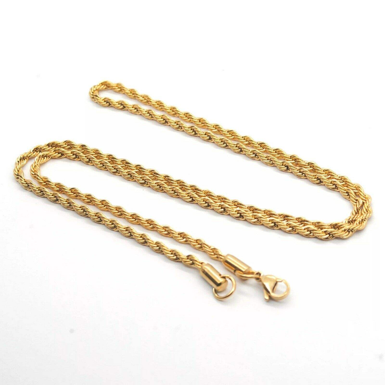18K Yellow Gold GP 3MM Twist Rope Chain WOMEN MEN Solid Charm Necklace GIFT