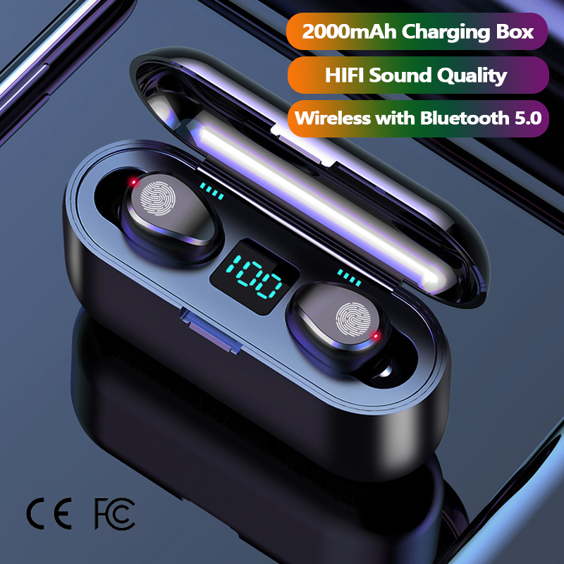 Free Shipping 1 Sample OK CE FCC 2000mAh IPX7 Waterproof TWS For Bluetooth Earphones Wireless Noise Cancelling In Ear Headphone