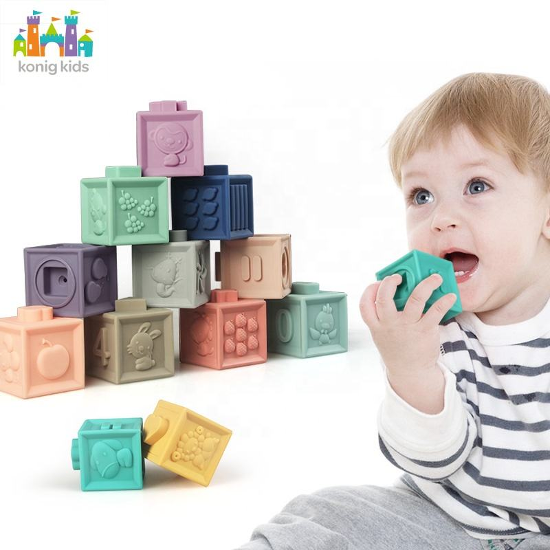 Konig Kids Amazon Hot Sale 3D Silicone Rubber Teether Building Blocks Baby Educational Toys
