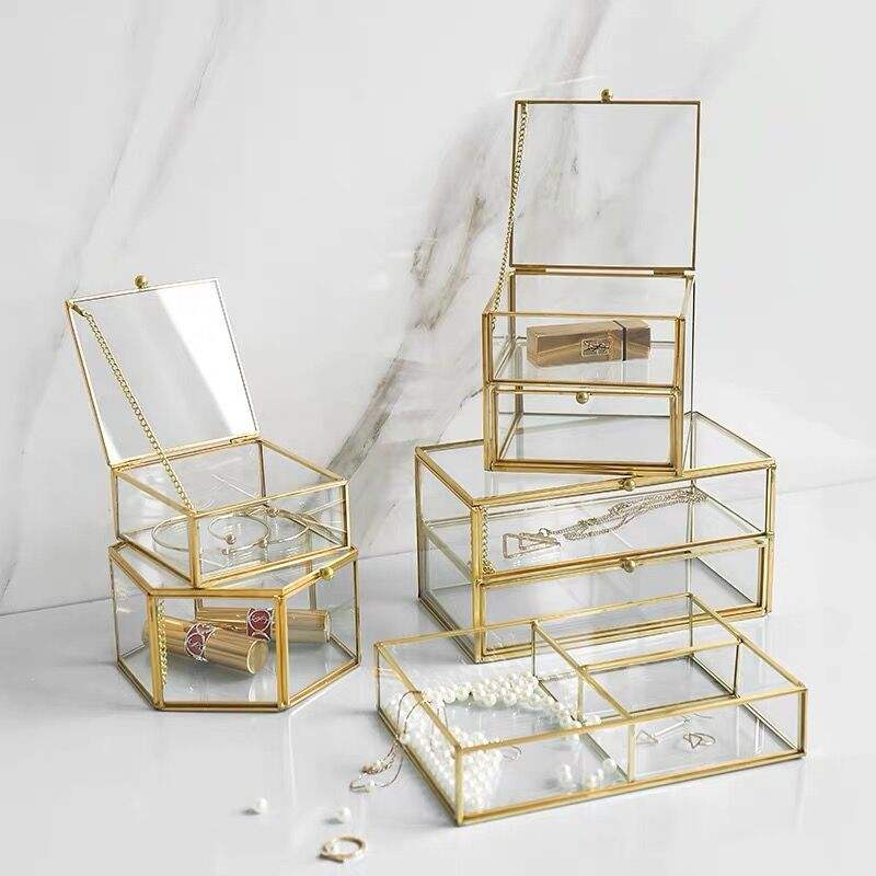 Luxury Jewelry Organizer Holder Tabletop Home Storage Glass Cosmetic Storage Box
