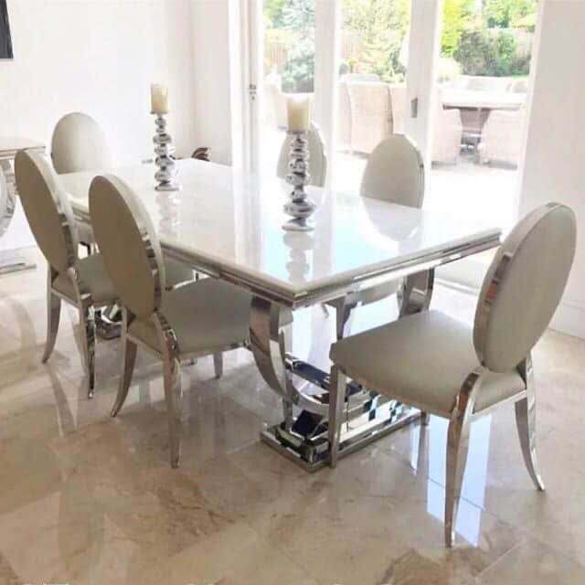 Dining Room Furniture Rectangle Dining Table Stainless Steel Marble Tabletop for Home Hotel Restaurant
