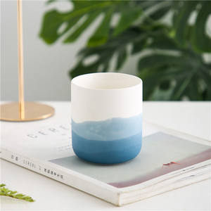 Factory price fancy unique ombre design matte home decoration ceramic candle jars for wedding