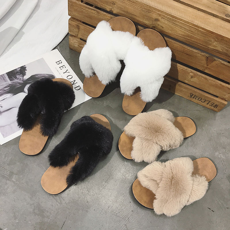 women winter slippers furry slippers cross faux fur upper slippers for women indoors outdoor slides