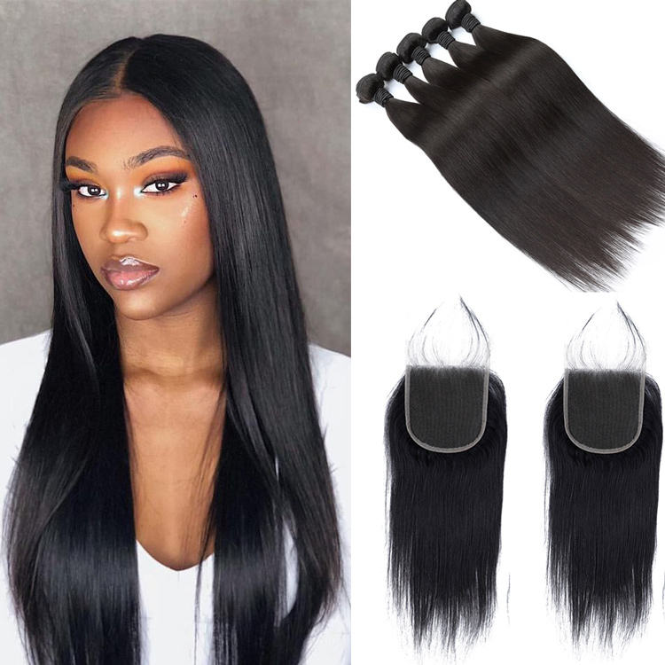 LeShine Wholesale Factory Indian Human Hair Closure, Custom 5x5 Hd Lace Closure, Packet Straight Hair Bundles With Closure