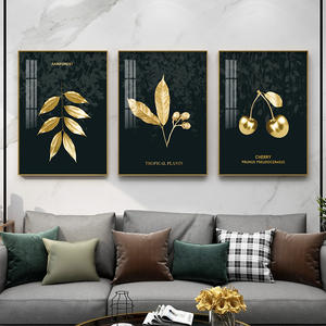 high quality modern waterproof handmade large black and gold leaf painting Crystal porcelain wall art for home decor
