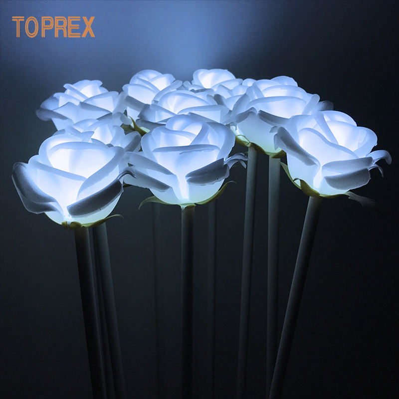 TOPREX DECOR IP 65 event decor outdoor use UV proof white color led rose flower lights
