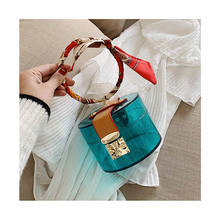 Transparent MINI Tote Bags For Women Summer Fashion Acrylic Handbags Scarves Designer Hand Bag 2020 Lady Round Metal Jelly Bags