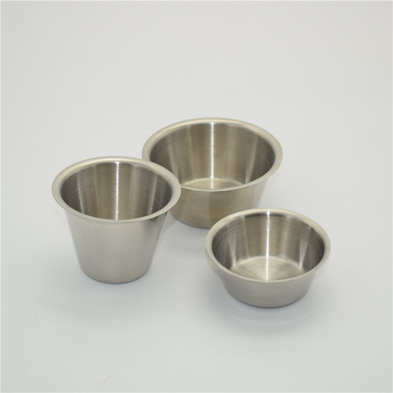 Stainless steel 18/8 sauce cups - Individual round condiment ramekins, portion dipping sauce cup kitchen set