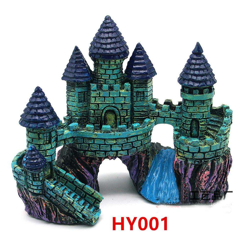 Small artificial resin castle for Aquarium fish tank decoration landscape