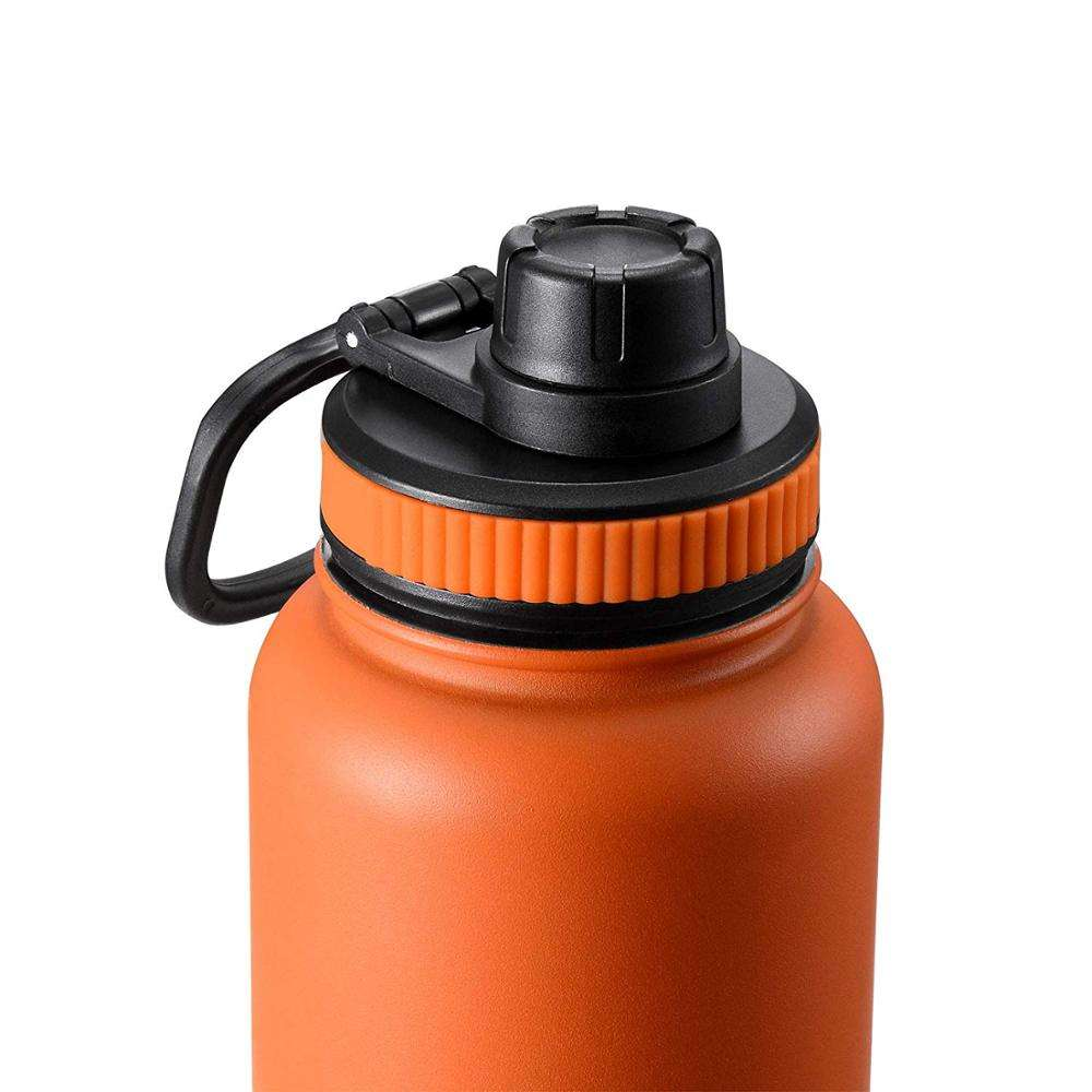 Vacuum Insulated Thermo Flask Wide Mouth Stainless Steel Sports Water Bottle Straw Lid & Flex Cap & Spout Lid