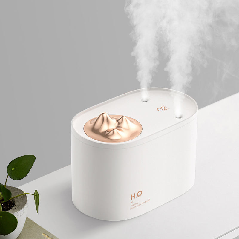 Portabel 1000Ml Isi Ulang Nirkabel Cool Mist Humidifier Diffuser Ultrasonic Double Spray Gunung Air Humidifier Mesin