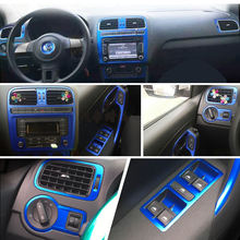 For Volkswagen POLO MK5 Interior Central Control Panel Door Handle 3D 5D Carbon Fiber Stickers