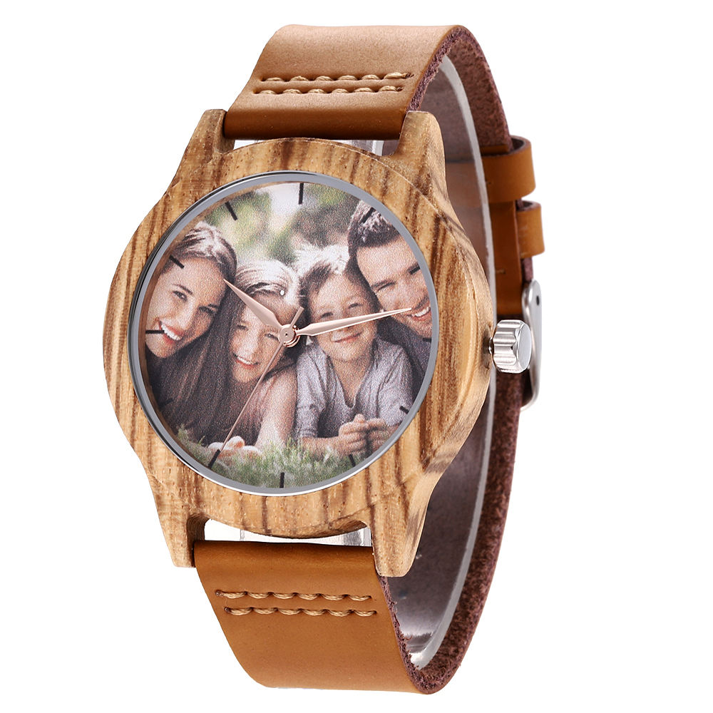 Custom DIY Engraved Logo Memory Photo Dial Bamboo Wood Wrist Watch Memorial Couple Watch Leather Strap Waterproof Men's watches
