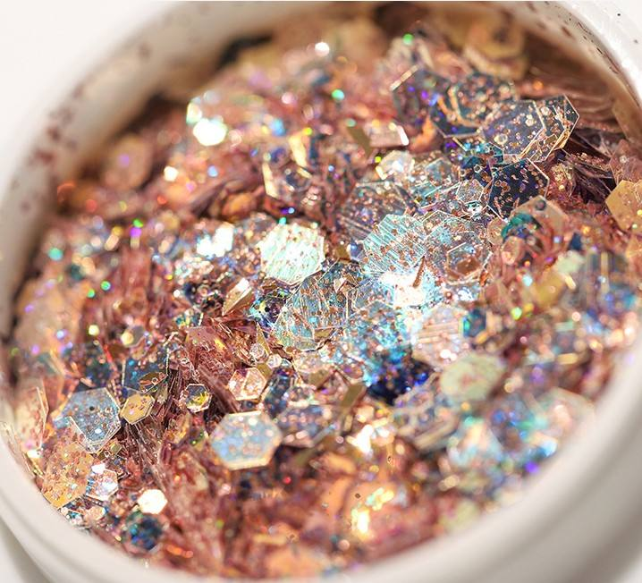 hot selling laser glitter mixed chunky glitter bulk mirror silver glitter for nail arts