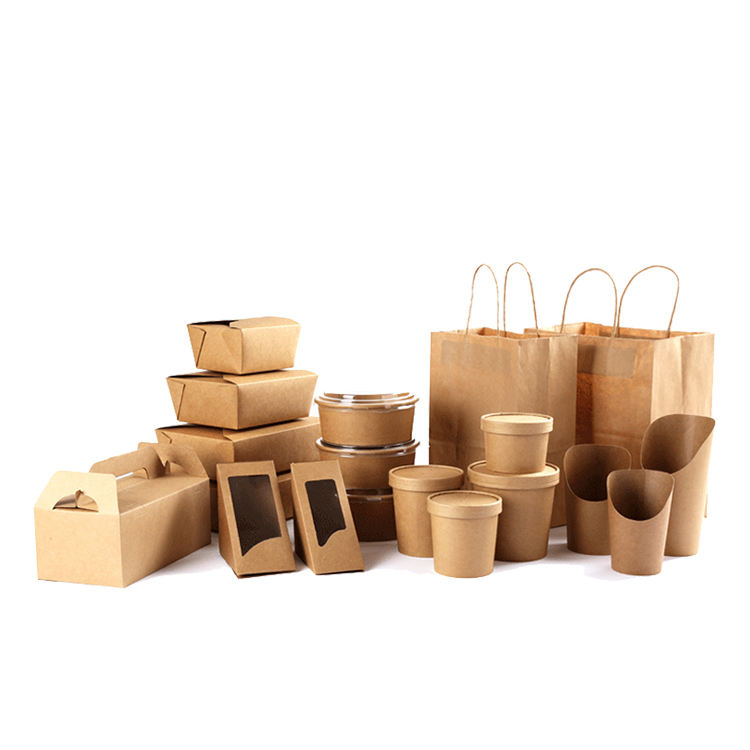Manufacturer Disposable custom akeaway biodegradable printed kraft paper fast food packaging