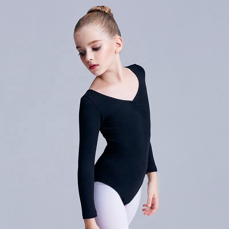 Hot Sale Dance Girl Pink Long Sleeve Cotton Ballet Leotards Kids Ballet Leotards Ballet