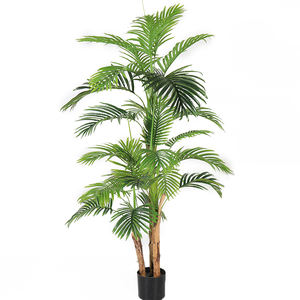 Artificial Mini Plastic Plant Potted Hawaii Palm Tree for Indoor Decoration Green Plant Bonsai