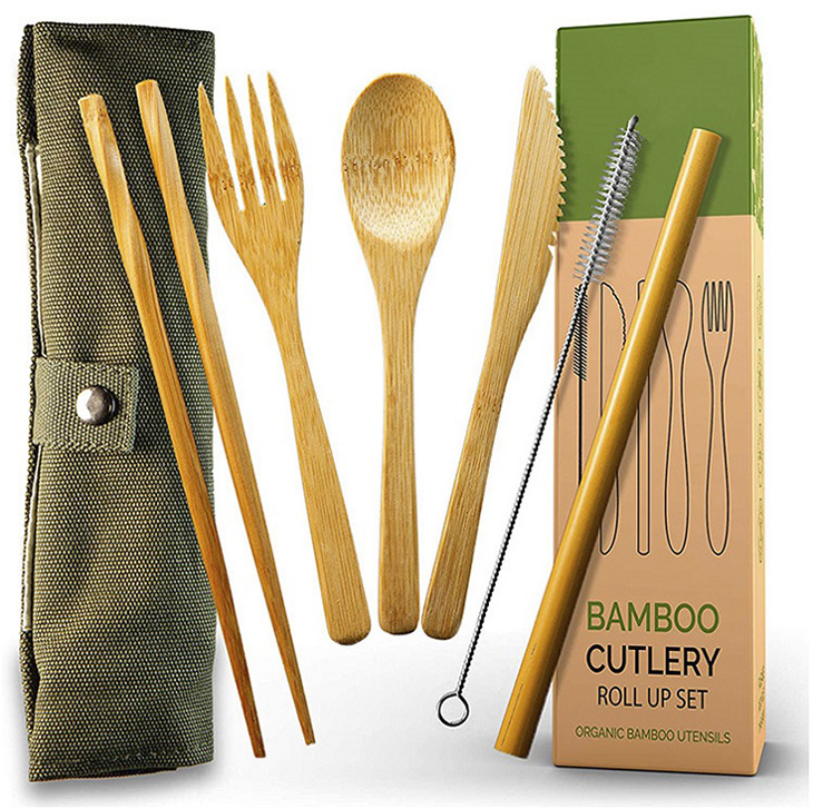 100% Eco Friendly Recycled Travel Bamboo Cutlery Utensil Set Custom Logo Bamboo Cutlery Flatware Set Travel with Storage Pouch