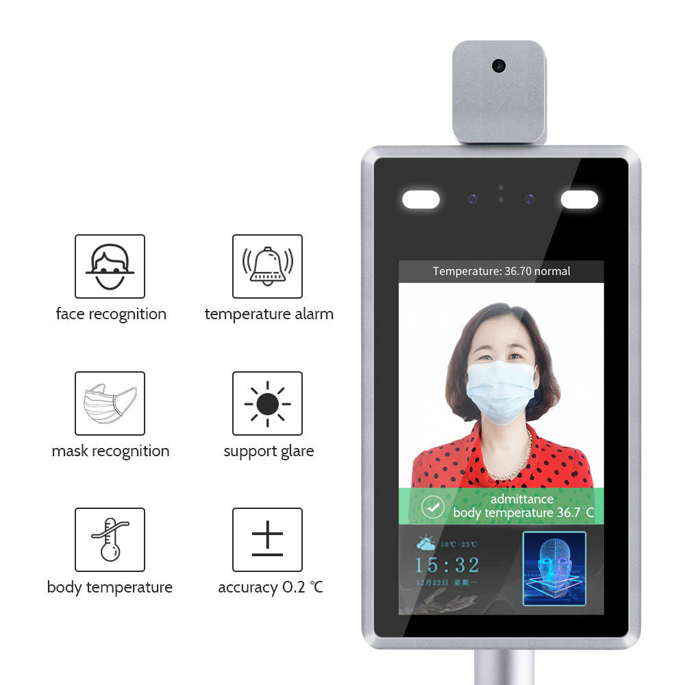 Multi-language 8 inch Infrared Thermal Face Recognition Camera Biometric Device Access Control Camera System Support SDK OEM