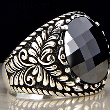 Black Onyx/Zircon Checkerboard 925 Sterling Silver with Gold Plated 925 ring