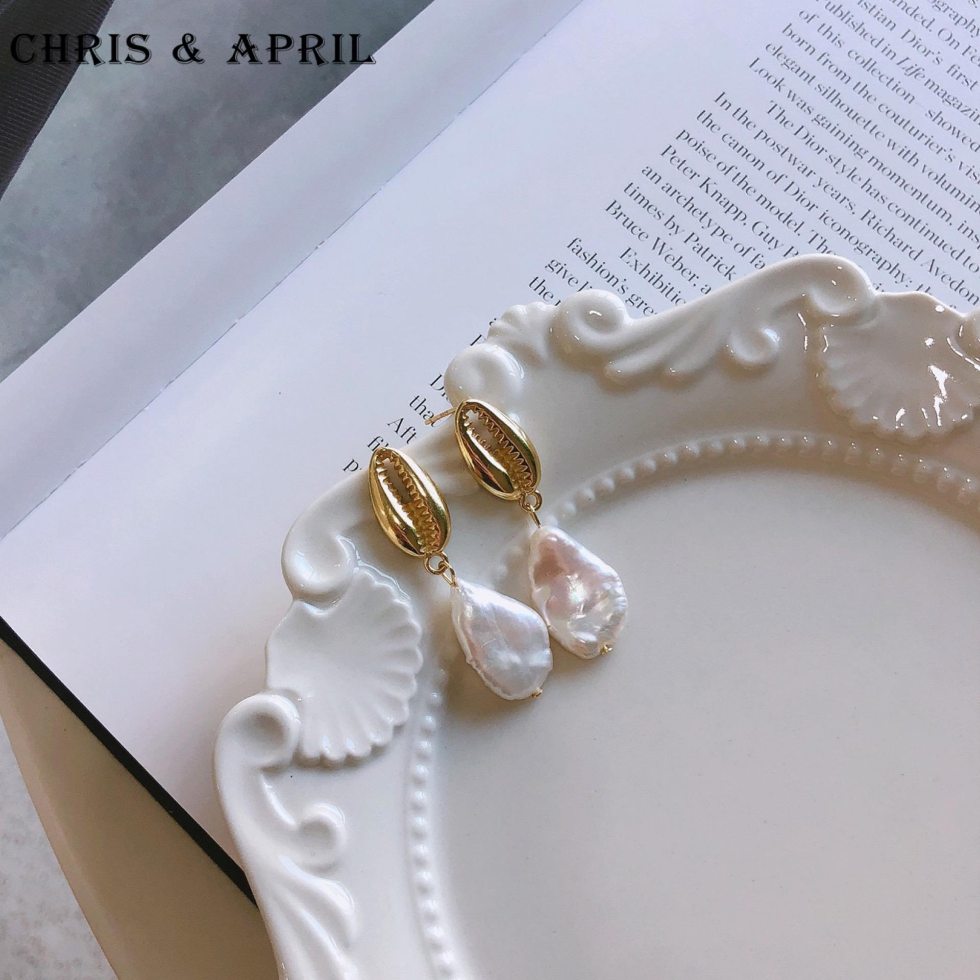 Pearl [ Gold Pearl Earrings ] Pearl Simple 18K Gold Plated Pearl Shell Earrings