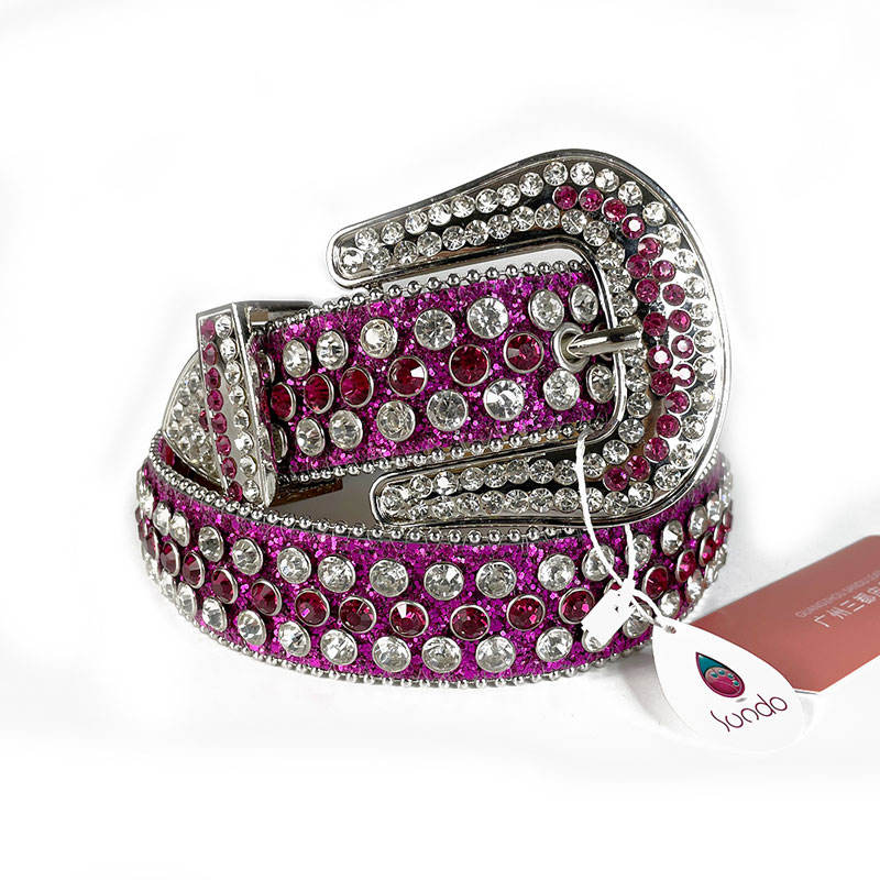 Designer 1.5 Inches Wide High Quality Fashion Luxury Purple Pu Leather Rhinestone Studded Western Belt For Dresses Women