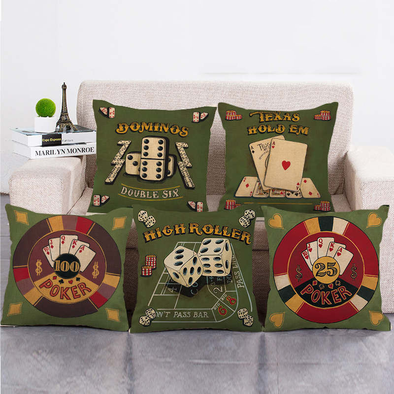 Military green design playing cards cushion cover Amazon goods supplier linen/cotton throw pillow cover decorative pillows