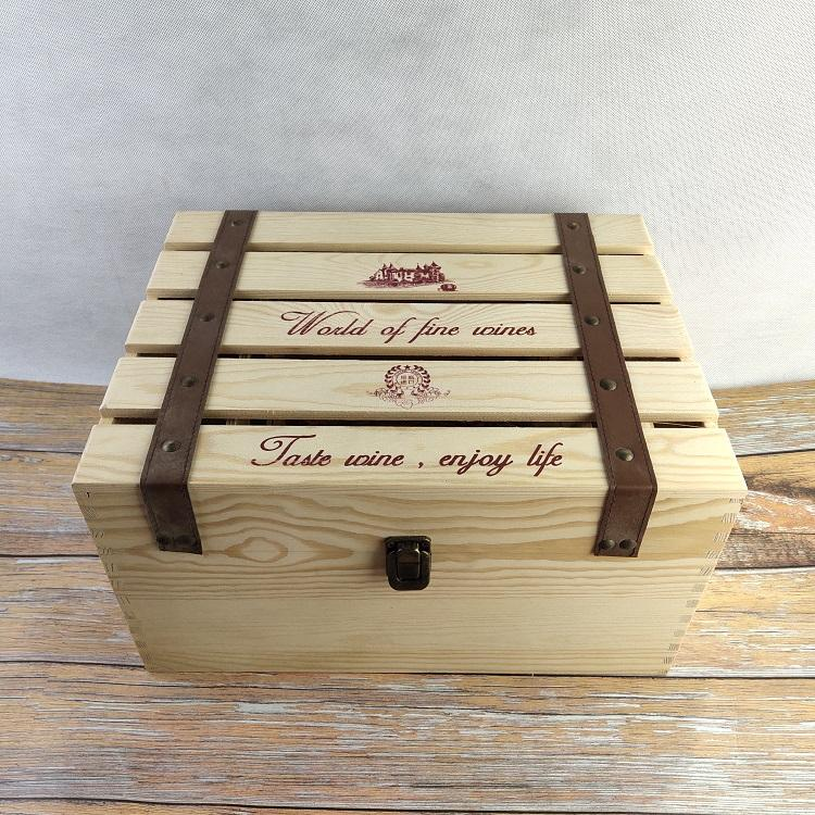 natural pine wood color 6 bottles wine box wooden crate gift box for wine lover in stock cheap lower price