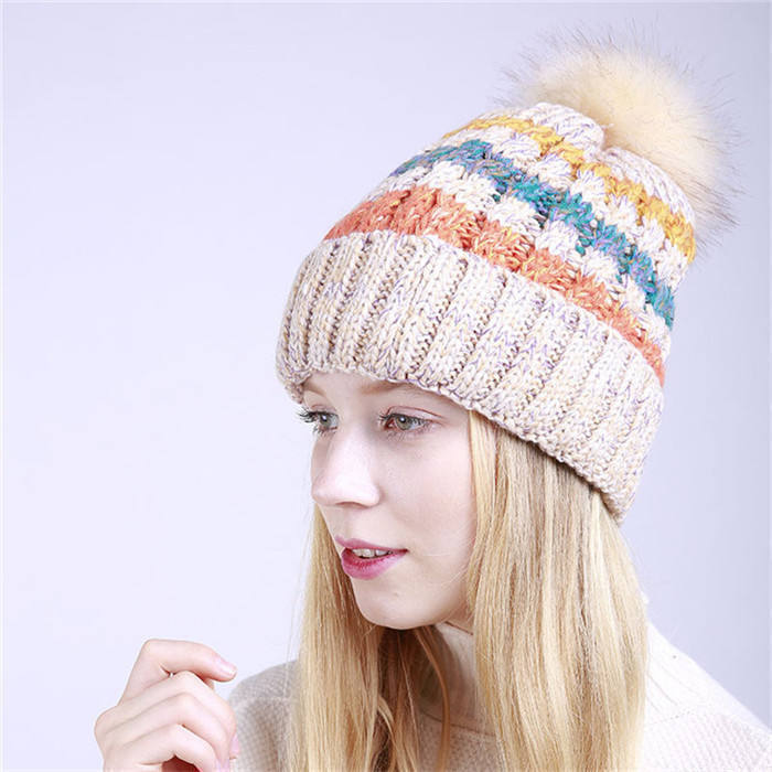 S4886 fashion winter chunky thick cuffed ski caps thermal lined pompom hats women beanies with fleece lining for women stylish