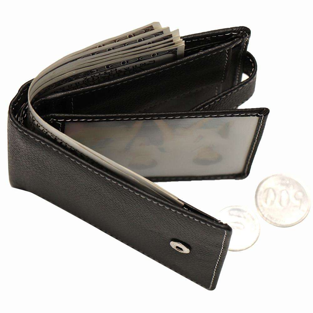 New front pocket bifold men weave genuine leather rfid mens wallet