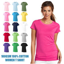 180gsm 100% Cotton Customized Logo Printed Blank tshirts Wholesale Plain Women T Shirt