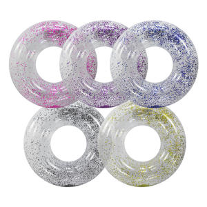 Stock Transparent plastic life ring with silver glitter, Glitter Swim Ring, Swimming Pool Tube, Swim ring Float