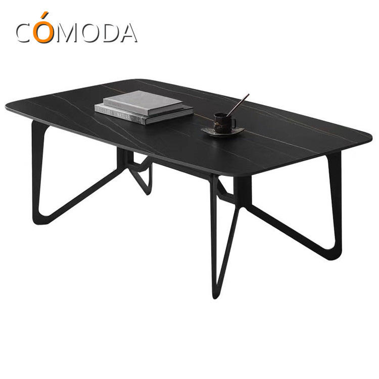 COMODA scratch resistant porcelain coffee table in front of sofa with iron legs stainless steel legs optional living room table