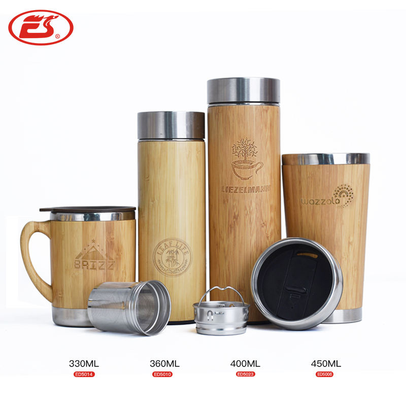 18 Oz Double Wall Rvs Liner Bamboe Thermos Koffie Thermoskan Met Thee Zetgroep Bamboe Kolf
