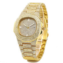 2020 Hot Selling Mens Alloy Iced Out Bling Rhinestone Statement Quartz Watch For Gift