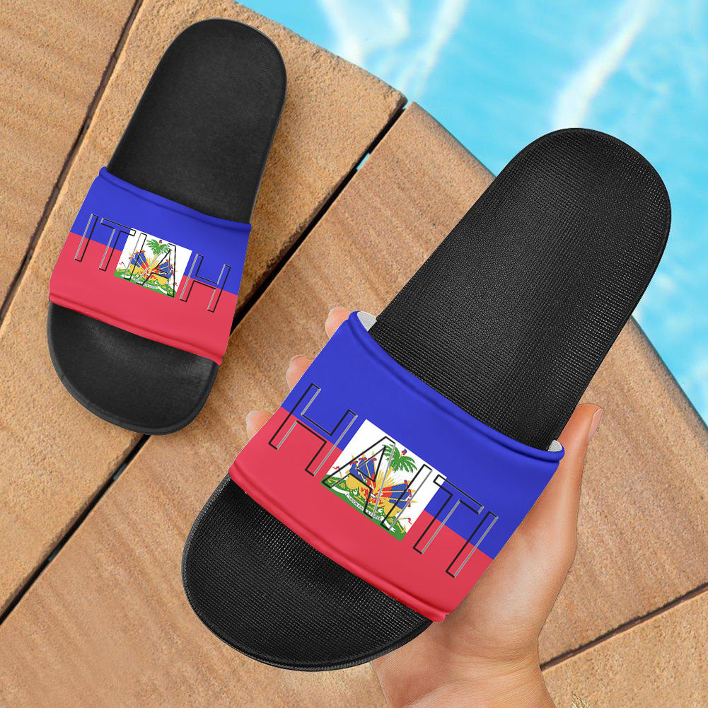Haitian Flag Design Women Men Unisex Beach Slides Sandal Soft Black Soles Eva Slippers 2020 Haitian Shoes With Flags Printing