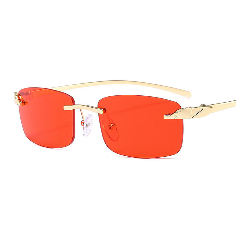 2020 High Quality Rimless Red Rectangle Sunglasses Square Metal Sunglasses