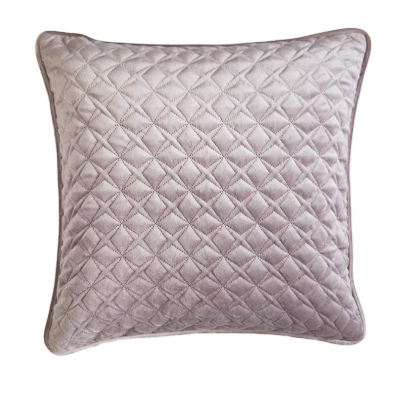 square light pink Geometric Design Cushions Home Decorative Cotton Throw Pillows with velvet embroideried