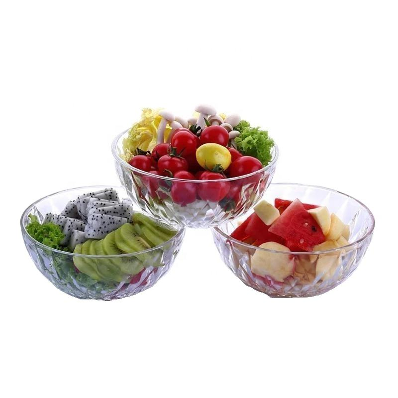 Best Seller Clear Glass Salad Bowl Dessert Bowl Round Shape With Diamond Design